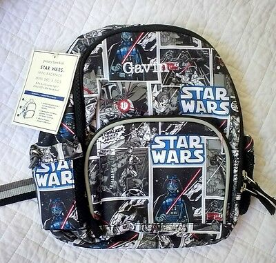 "New Pottery Barn Kids STAR WARS boys PRE-K backpack monogram "" GAVIN """
