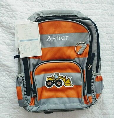 "New! Pottery Barn Kids boys SMALL backpack monogram "" ASHER "" bulldozer orange"