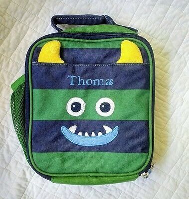 New Pottery Barn Kids my first BOYS Lunchbox bag monogram THOMAS navy critter