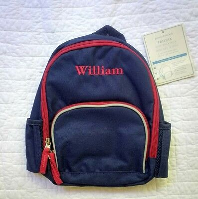 "New Pottery Barn Kids boys PRE-K mini backpack monogram "" WILLIAM "" navy"