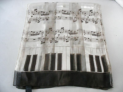 Piano Keyboard And Music Scale Black & White Long Scarf Silk Feel