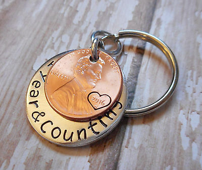 1 Year and Counting Anniversary Key Chain 2016 Lucky Penny Heart Around Date