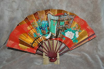 Vintage Oriental Folding Fan~Bamboo Stand~Hand Painted~Red & Gold