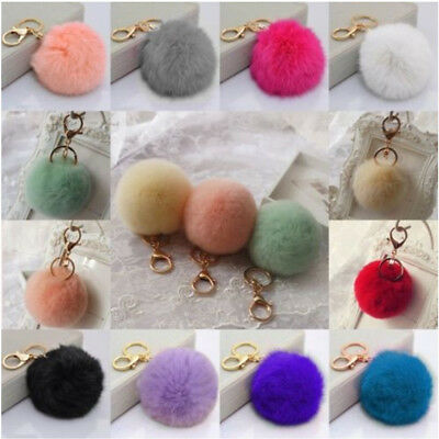 Xmas Cute Rabbit Fur 8mm Ball PomPom Phone Car Pendant Handbag Key Ring Chain