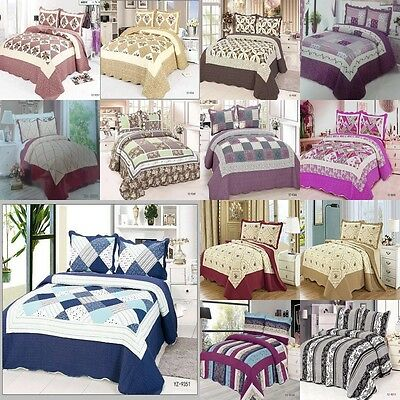 3 Pieces PatchWork Bedspread Fit Size Double&King Quilted Bed Spread 100% Cotton