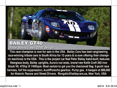 1966 Other Makes Race Seat with Harness Bailey Ford GT40 Recreation