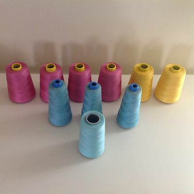 10 piece lot large poly & cotton cone thread
