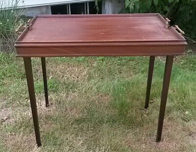 Vintage 1917 Antique Scheibe Tray/ TV Table Wood Stand Folding patio plant stand
