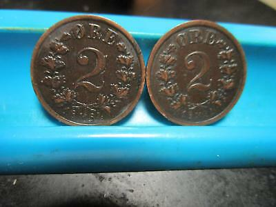 Norway - 1884 & 1891 - Two Ore's - XF -                      (V135)