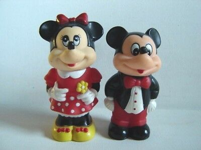 Vintage Mickey Mouse and Minnie Mouse Figurines Bubble Bottles Walt Disney 1986