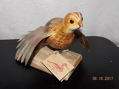 The Painted Bird Carved BOBWHITE QUAIL Decoy Signed by Richard Morgan w/Tag