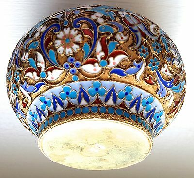 Russian  Silver And Enamel Antique Salt Cellar  Fully Hallmarked On The Bottom.