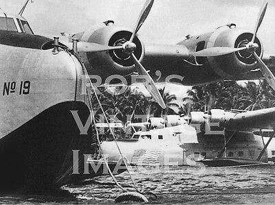 Pan Am Clipper B 314 Airplane Flying Boat & Martin MB 130 at Honolulu  photo
