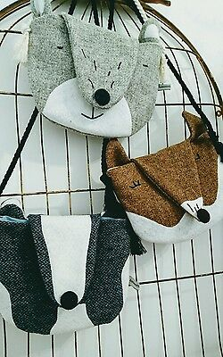 Handmade Harris Tweed Kids animal bag Badger, fox, bear
