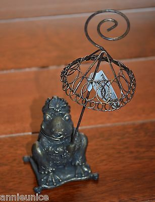 """Pier 1 Old Fashioned Bronze Tone Frog With Umbrella  6.5"""" Photo Holder"""