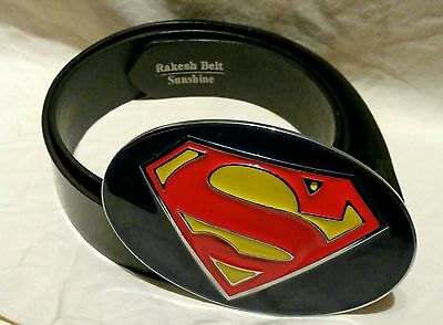 Vintage Superman Steel Belt Buckle Very Large with PU  Belt  size 930mm (approx)