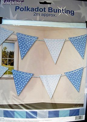 Baby BOY Polkadot  Bunting aprox 2m long ideal Baby Shower decoration.