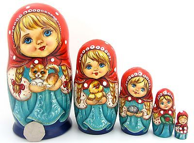 Genuine Russian nesting dolls GIRLS & cute Kitten Duck 5 HAND PAINTED BABUSHKA