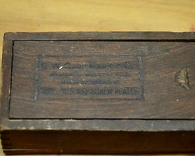 Vtg S. W. Cards Mfg Co Tools Mansfield Mass Wood Slide Box Advertising --1928