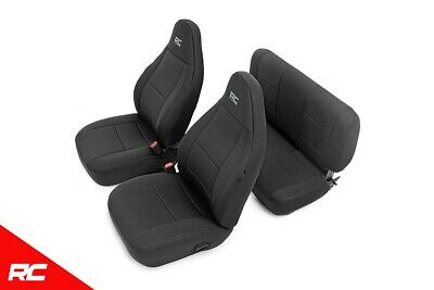 Rough Country - 91000 - Black Neoprene Seat Cover Set (Front & Rear) for Jeep...