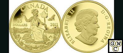 2013 Gold 'Allegory' Proof $25 Gold Coin .9999 Fine (13231) (NT)