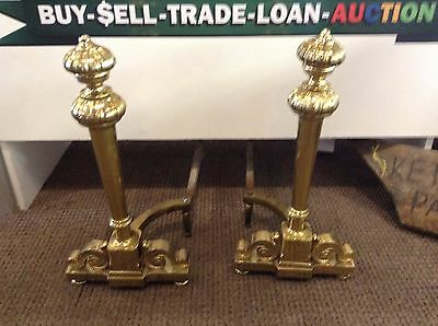 """Vintage Andirons Antique Brass Fireplace Andirons 22"""" tall"""