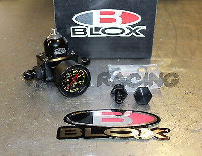 Blox Competition 3 Port Adjustable Fuel Pressure Regulator Black w/ 6AN Fittings
