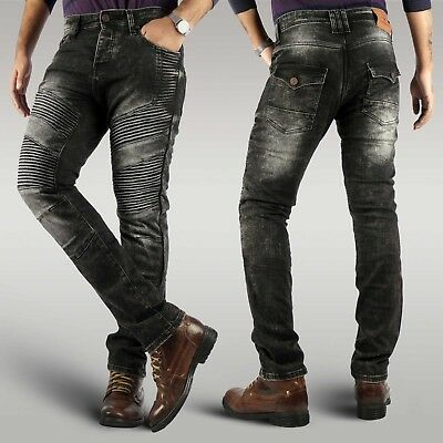 Men's new biker motorcycle reinforced denim jeans with protective aramid lining