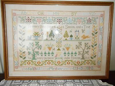 outstanding vintage cross stitch sampler