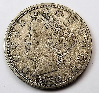 1890 Liberty V  Nickel  F Coin w/ Solid Liberty Nice Details 375