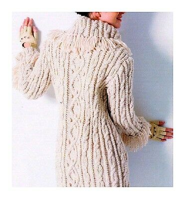 Ladies COAT Fringed Collar Cable Pattern Knitting Pattern 8 Ply
