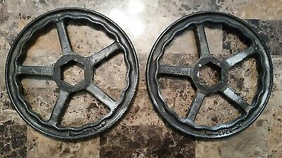 "TWO Large Vintage 10"" CAST IRON Steampunk Industrial Steam Gate VALVE Handle (A)"