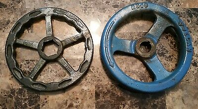 TWO Large Vintage CAST IRON Steampunk Industrial Steam Gate VALVE Handle