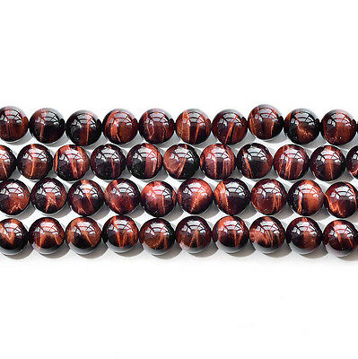 """Natural 5A Red Tiger's Eye Stone Gemstone Round Beads 15"""" 6mm 8mm 10mm 12mm"""