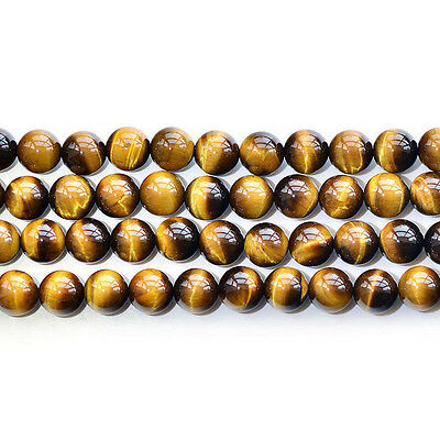 """Natural 5A Yellow Tiger's Eye Stone Gemstone Round Beads 15"""" 6mm 8mm 10mm 12mm"""