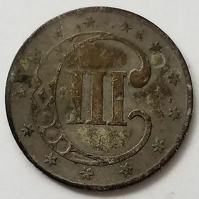 1851 Three Cent Silver 3c VF Toned NICE Estate Find 264