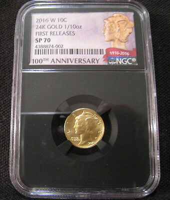 2016-W 10c GOLD MERCURY DIME 100th Anniversary NGC SP70 FR - Black Retro 1/10 oz