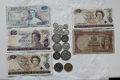 New Zealand Banknotes (5) and Coins (14), 8 Silver 1933-93, some rare items