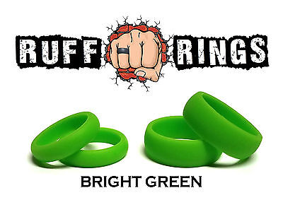 GREEN Silicone Ring / Weding Band - Crossfit Gym Ring Workout Qalo RUFFRINGS