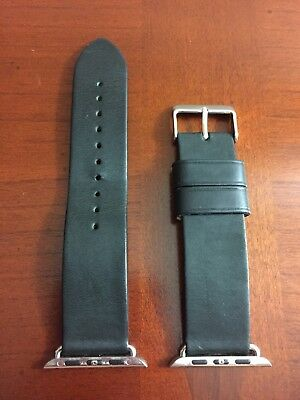 Monowear Black Leather Apple Watch Band With Silver Adapter 42mm