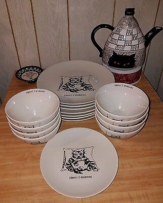 Cats of Paris - Kiss That Frog - Henry The Sluggish - Plates & Bowls 17pc in LOT