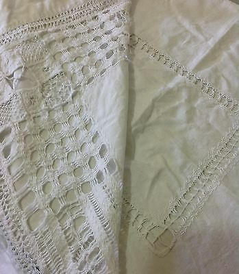 Antique 1890s Victorian Era TABLECLOTH Drawn Threadwork Linen