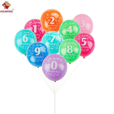 10Pcs Birthday Latex Balloons With Printed 0-9 Numbers Party Quality 12 inches