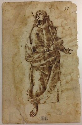 Old Master Drawing, Ink On Handmade Paper Laid, Stamp And Numbered