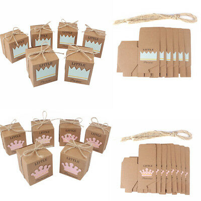 10PCS Baby Shower Wedding Party Gift Bag Prince or Princess Crown Candy Boxes