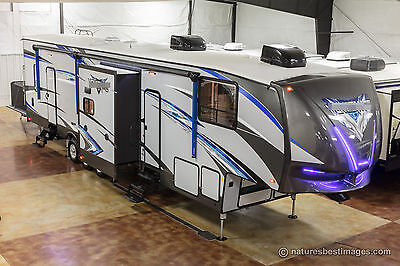 New 2018 420V12 All Season 3 Slide Out 5th Fifth Wheel Toy Hauler Master Suite