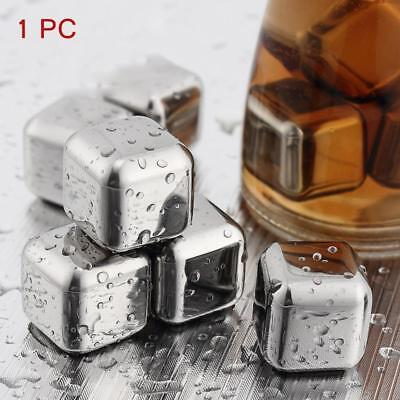 Reusable Stainless Ice Cubes Glacier Rocks Drink Freezer Whiskey Rock Stone TL