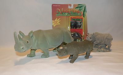 Lot Of 4 Rhino Rhinoceros Felt Covered Figures Toy Concepts