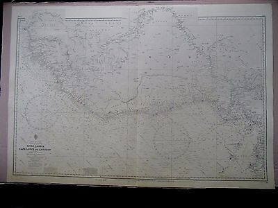 """1966 WEST AFRICA - COAST OF GUINEA River Gambia - Cape Lopez MAP 28"""" x 41"""" B87"""
