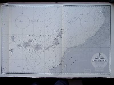 """1970 W Coast AFRICA - CANARY ISLANDS & MOROCCO Admiralty Map Chart 28"""" x 45"""" D71"""